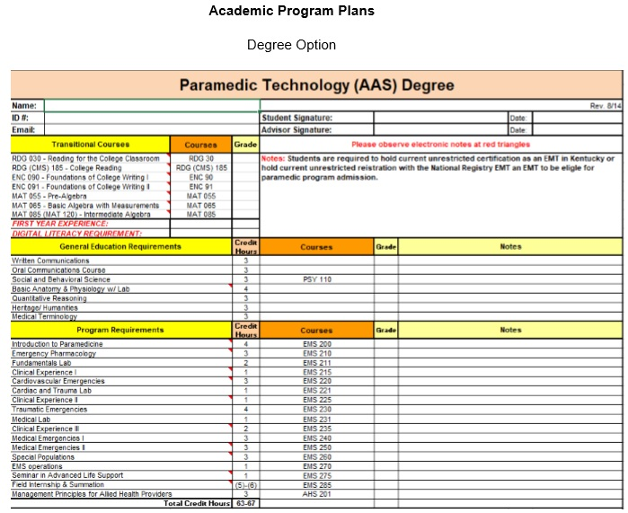 APP for Paramedic AAS degree