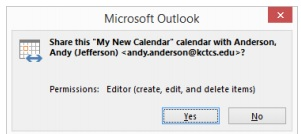 Step 7 for creating a shared calendar in Outlook 2010 and 2013