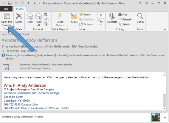 Step 8 for creating a shared calendar in Outlook 2010 and 2013